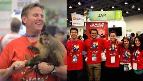 Jam app promo at Macworld with Abu the monkey