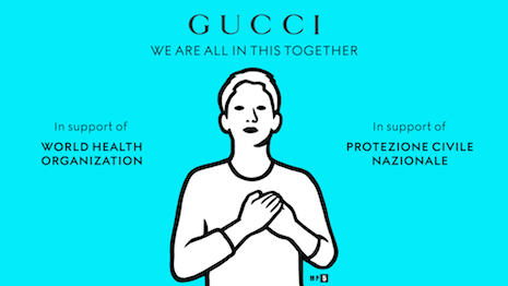 Gucci, like its luxury peers, has put on an enormous show of solidarity and altruism to help health authorities combating the spread of the COVID-19 coronavirus. Image credit: Gucci