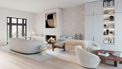 Minimalist family room designed by Alix Lawson. Image courtesy of Alix Lawson
