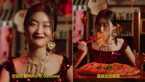 Dolce & Gabbana's China social media video campaign mocked a Chinese woman for not knowing how to use chopsticks to eat pizzas. Image credit: Dolce & Gabbana
